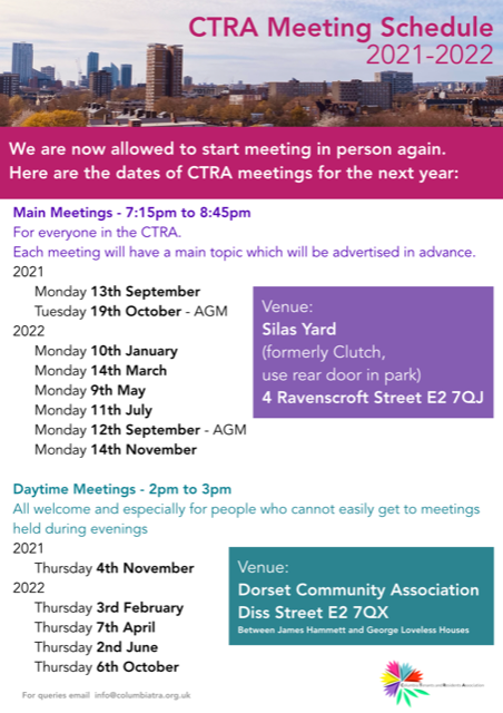 For future meeting dates please visit our events calendar - http://www.columbiatra.org.uk/events/
